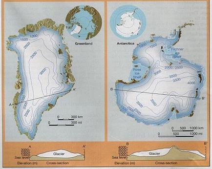 IJs op Groenland en Antarctica