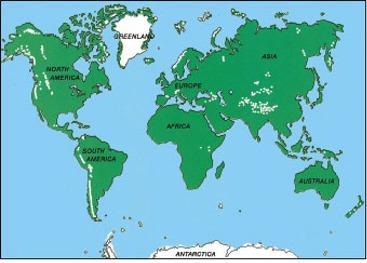 Wereldkaart met gletsjers