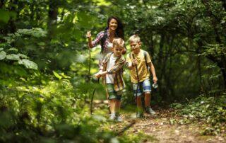 moeder en zoons wandelend in bos